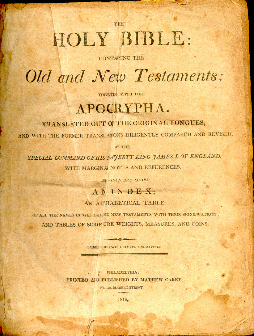 1812 HOLY BIBLE/ 1st STEREOTYPED EDITION/ Early American/ Geneva/ King James
